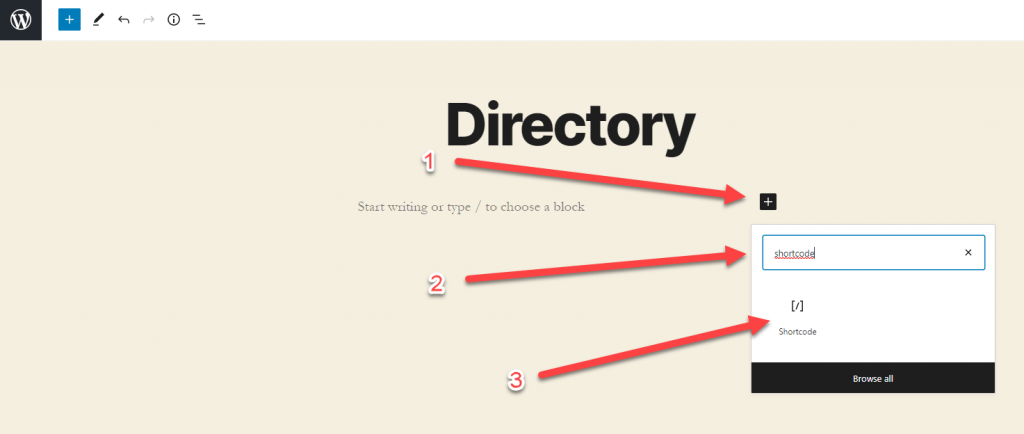 How to find the shortcode block in Gutenberg