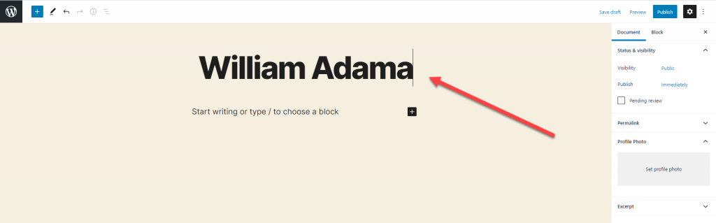 Adding the name to a new Profile in BSD WordPress Team and User Profiles