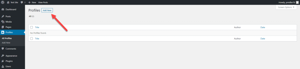Location of the Add New button in BSD WordPress Team and User Profiles
