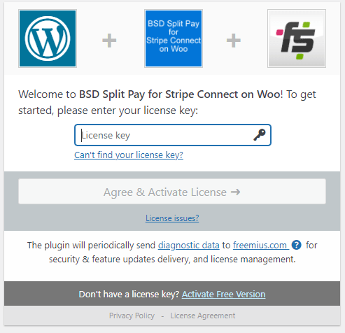 BSD Split Pay for Stripe Connect on Woo License Activation page.
