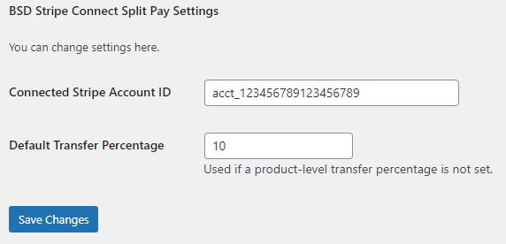 BSD Split Pay for Stripe Connect On Woo Plugin Configured for 10 Percent